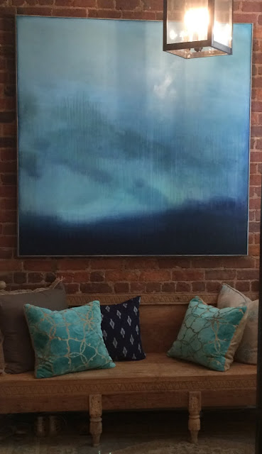 abby kasonik, painting, blue, indigo, rain, turquoise  turquoise, horizon, mood, atmosphere, painting
