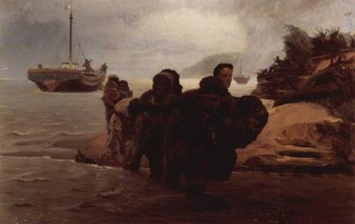 Barqueiros do Volga, pintura de Ilya Repin. #PraCegoVer