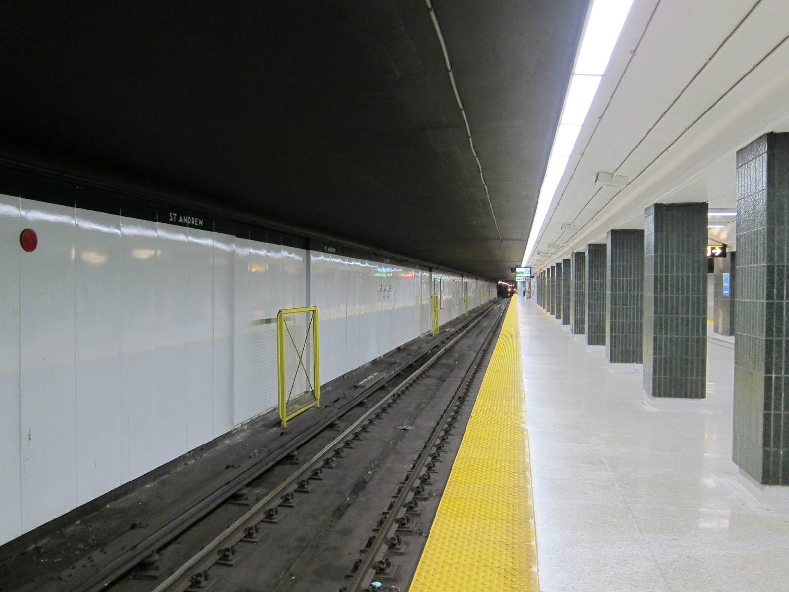 Clean lines at St. Andrew station's platform level