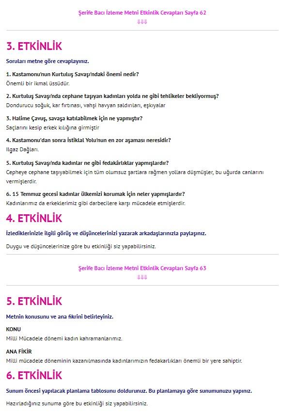 Şerife Bacı Belgeseli Dinleme İzleme Metni Cevapları 4. Sınıf Türkçe Sayfa 62-63
