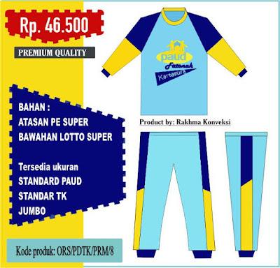 Seragam kaos olahraga paud tk warna kuning biru tua biru muda