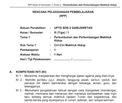 Download RPP Kelas 3 Kurikulum 2013 Revisi 2018