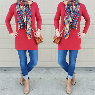 Red tunic, blanket scarf, skinny jeans, booties, casual outfit ideas