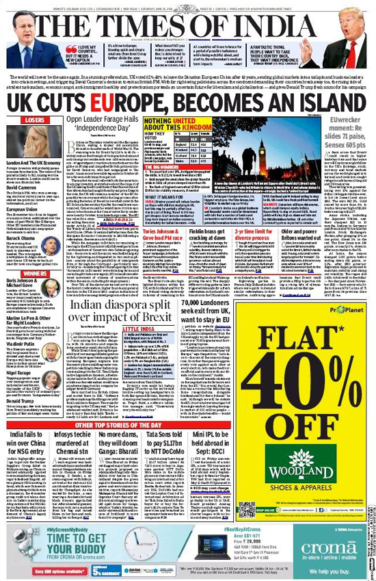 The Times of India, June 25, 2016