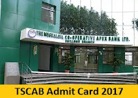 TSCAB Admit Card 2017