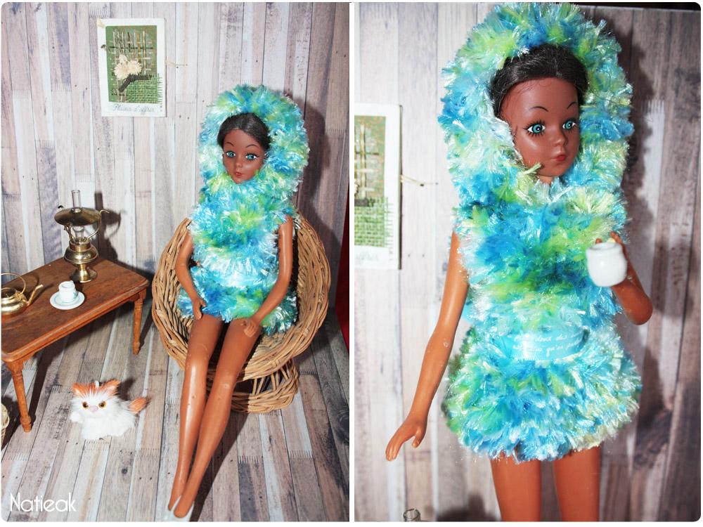 DIY  robe pilou à capuche en tricot  pour Dolls