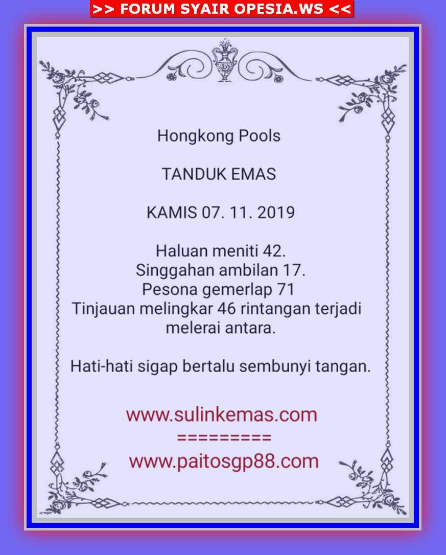 Kode syair Hongkong Kamis 7 November 2019 3