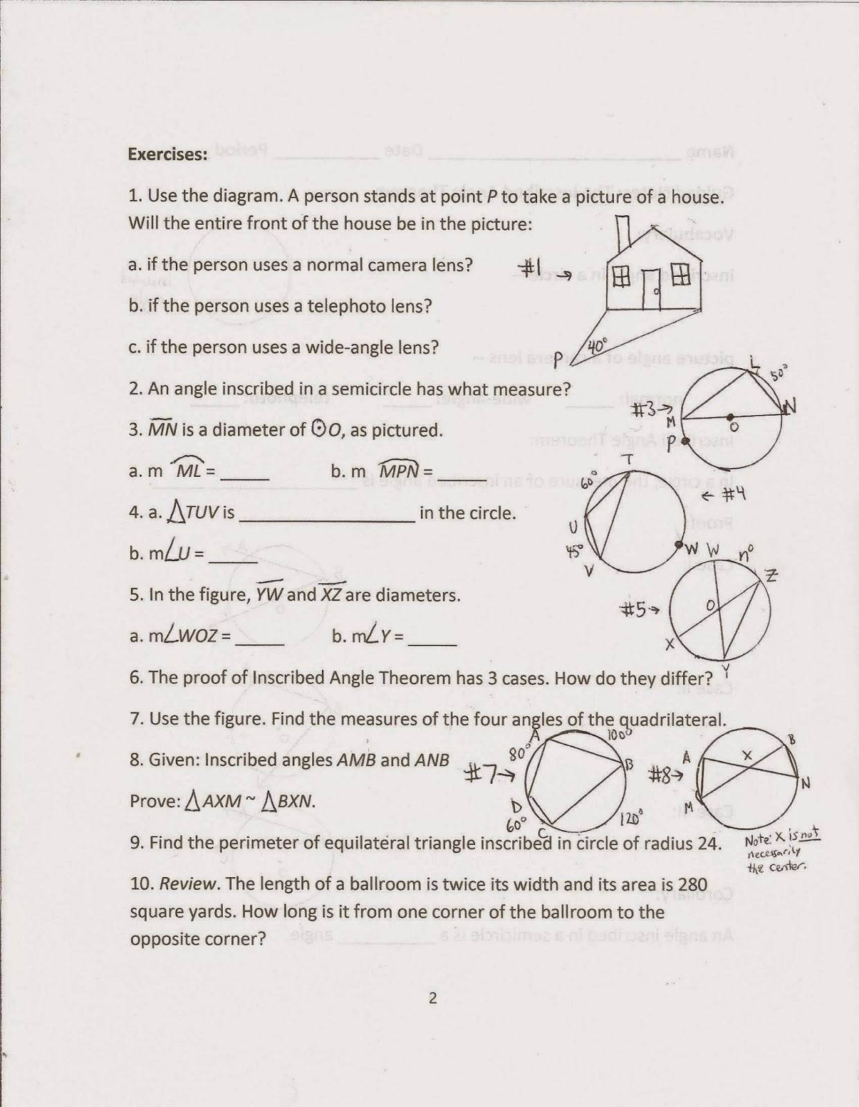 Geometry Common Core Style Lesson 15 3 The Inscribed