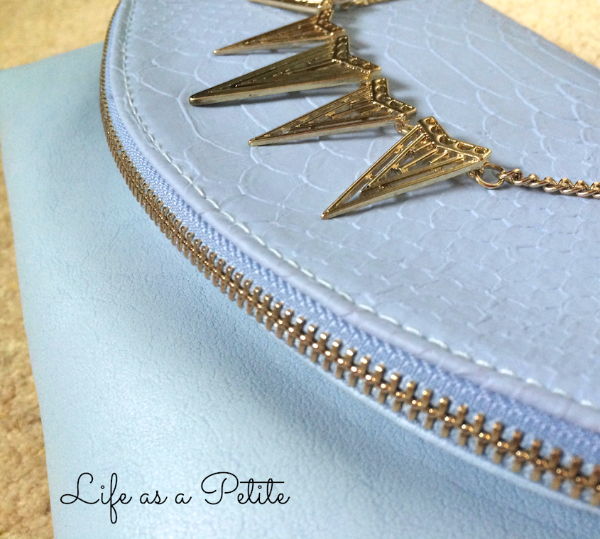 Powder Blue Fold Over Zip Clutch | life as a petite