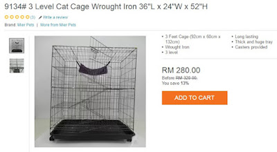 3 Level Cat Cage Wrought Iron From Lazada, Sangkar Kucing Tiga Tingkat, My Wish, My Cat, Lazada Birthday Blogger Contest,
