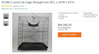 3 Level Cat Cage Wrought Iron From Lazada, Sangkar Kucing Tiga Tingkat, My Wish, My Cat, Lazada Birthday Blogger Contest,