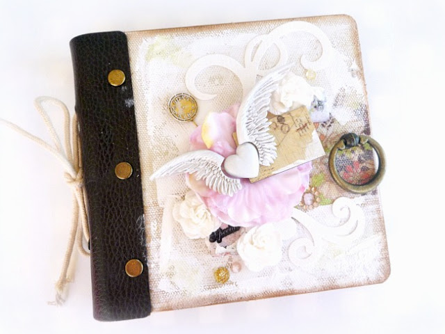 Canvas Album Embellished with Art Mediums Resin Flowers and Resist Canvas Shapes with Leather Binding and Bronze Knob