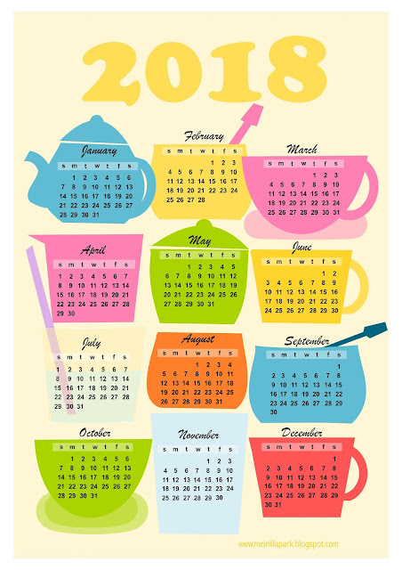 Free printable 2018 kitchen calendar - Kalender - freebie