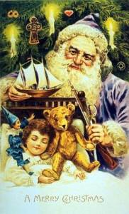 Papai Noel na cabeceira de um menino.