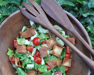 Fattoush (Middle Eastern Salad with Romaine, Tomatoes, Cucumbers, Fried Pita Chips and Lemon-Sumac Dressing)
