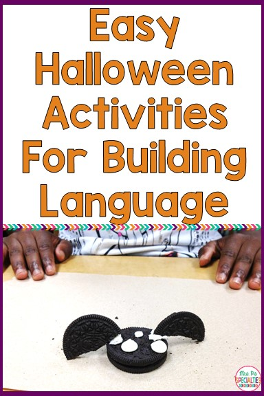 Halloween can make our kiddos all sorts of squirrely with excitement and anxiety. It can also give us TONS of opportunities to practice building language! Here are some ideas you can EASILY implement