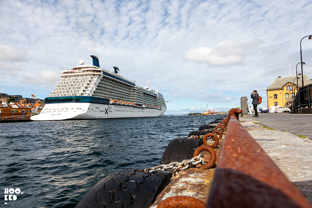 One of the many supersized cruise ships docked in the Stavanger harbour in Norway