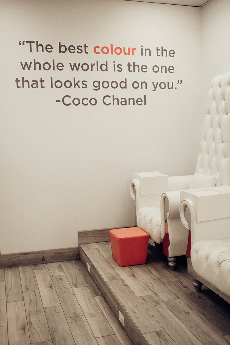 nail salon with cute chairs, coco chanel quote, glamour gels