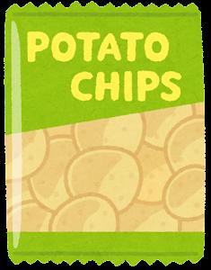 ポテトチップスのイラスト(袋・緑)