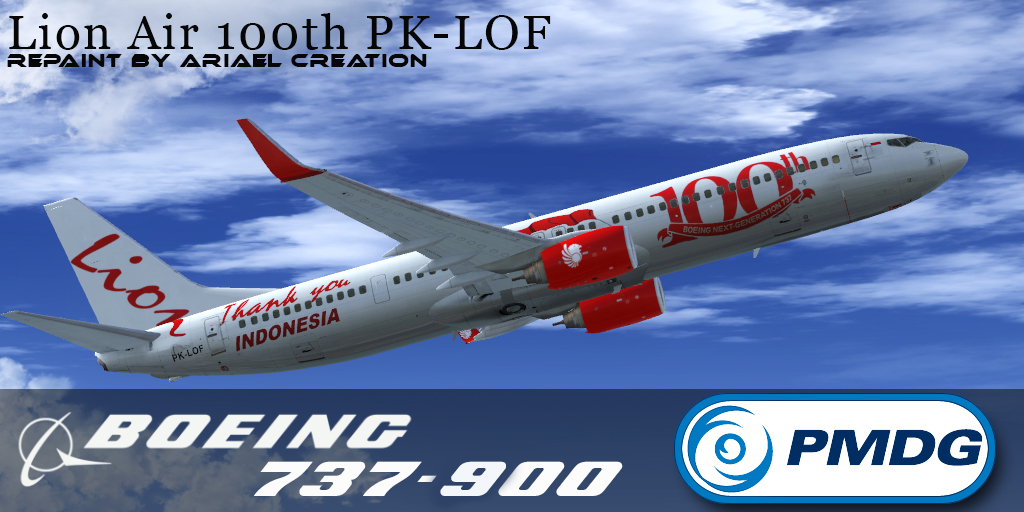PMDG 737NGX Lion AIR Special Livery FSX - Ariel Creation