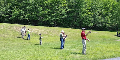 Fly casting at PA Lumber Museum Youth Field Day