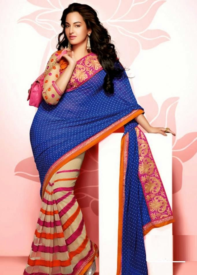 Sonakshi Sinha Photo shoot In Blue Saree