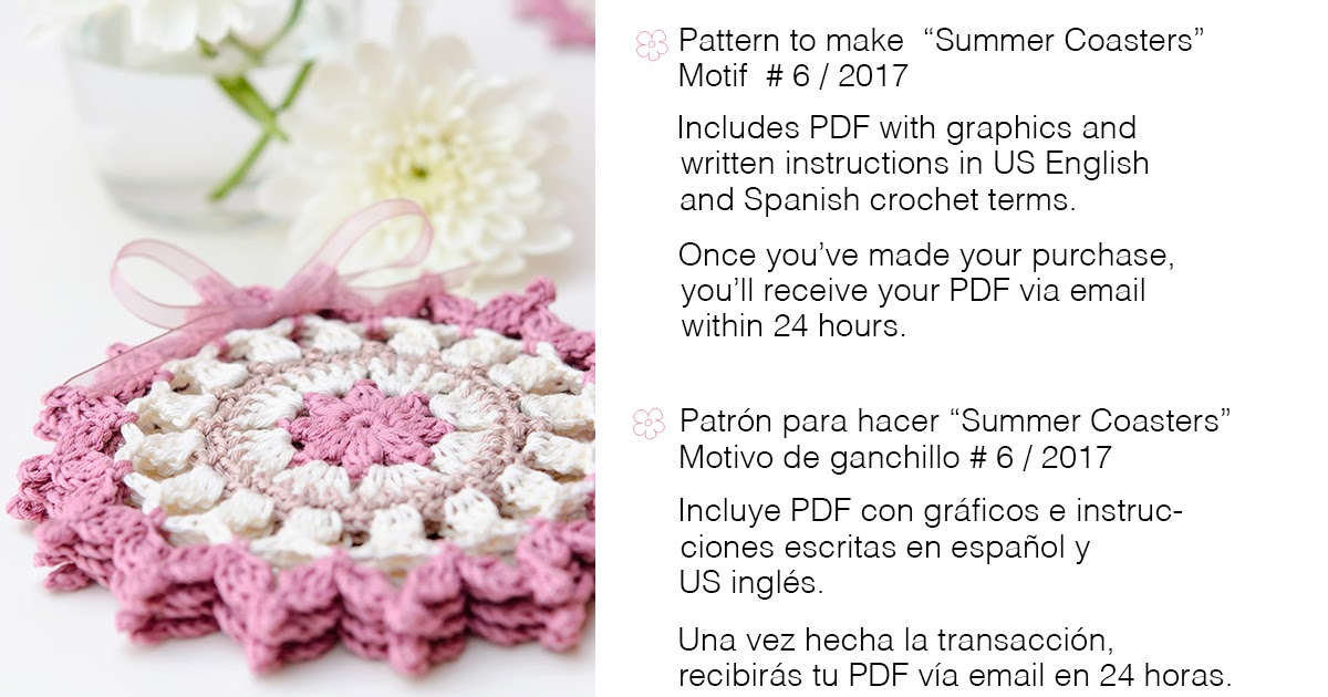 Anabelia craft design: Summer coasteres Crochet Motif 6_2016