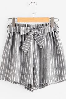 Shorts avec lacet avant rayure - SHEIN