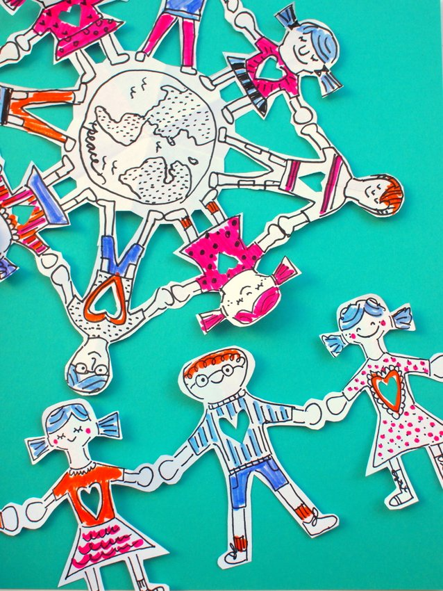 Two Ways To Make Paper People Chains A Chain And Snowflake Design