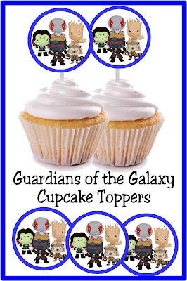 Celebrate the zany antics of the loveable Guardians of the Galaxy with this cupcake topper perfect for a superhero birthday party. Use these 2 1/2 inch circles for cupcake toppers, stickers, whirlypop labels, or any thing at your dessert table or party décor. #cupcaketopper #partyprintable #guardiansofthegalaxy #superhero #diypartymomblog
