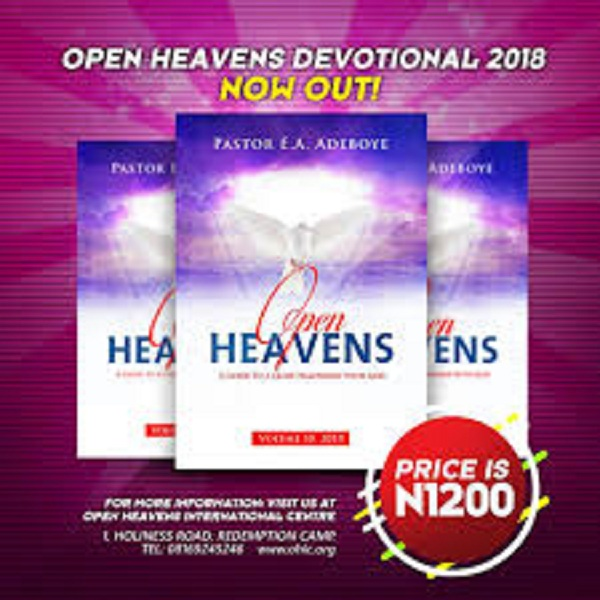 OPEN HEAVENS DAILY DEVOTIONAL 2018 by pastor EA Adeboye