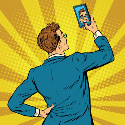 man taking selfie retro cartoon