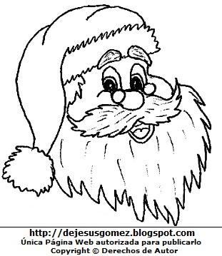Rostro de Papa Noel o Santa Claus para colorear pintar imprimir. Dibujo de Papa Noel de Jesus Gómez