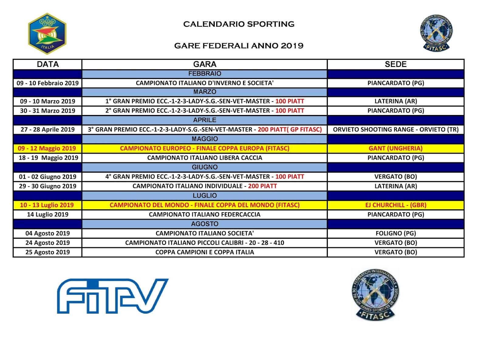 Calendario Nazionali.Tiro A Volo Porpetto Calendario Gare Nazionali Sporting 2019
