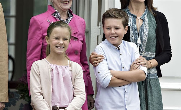 Crown Princess Mary, Crown Prince Frederik, Princess Josephine, Prince Christian, Princess Isabella, Prince Vincent. Crown Princess Mary wore SEA Sabine Dress
