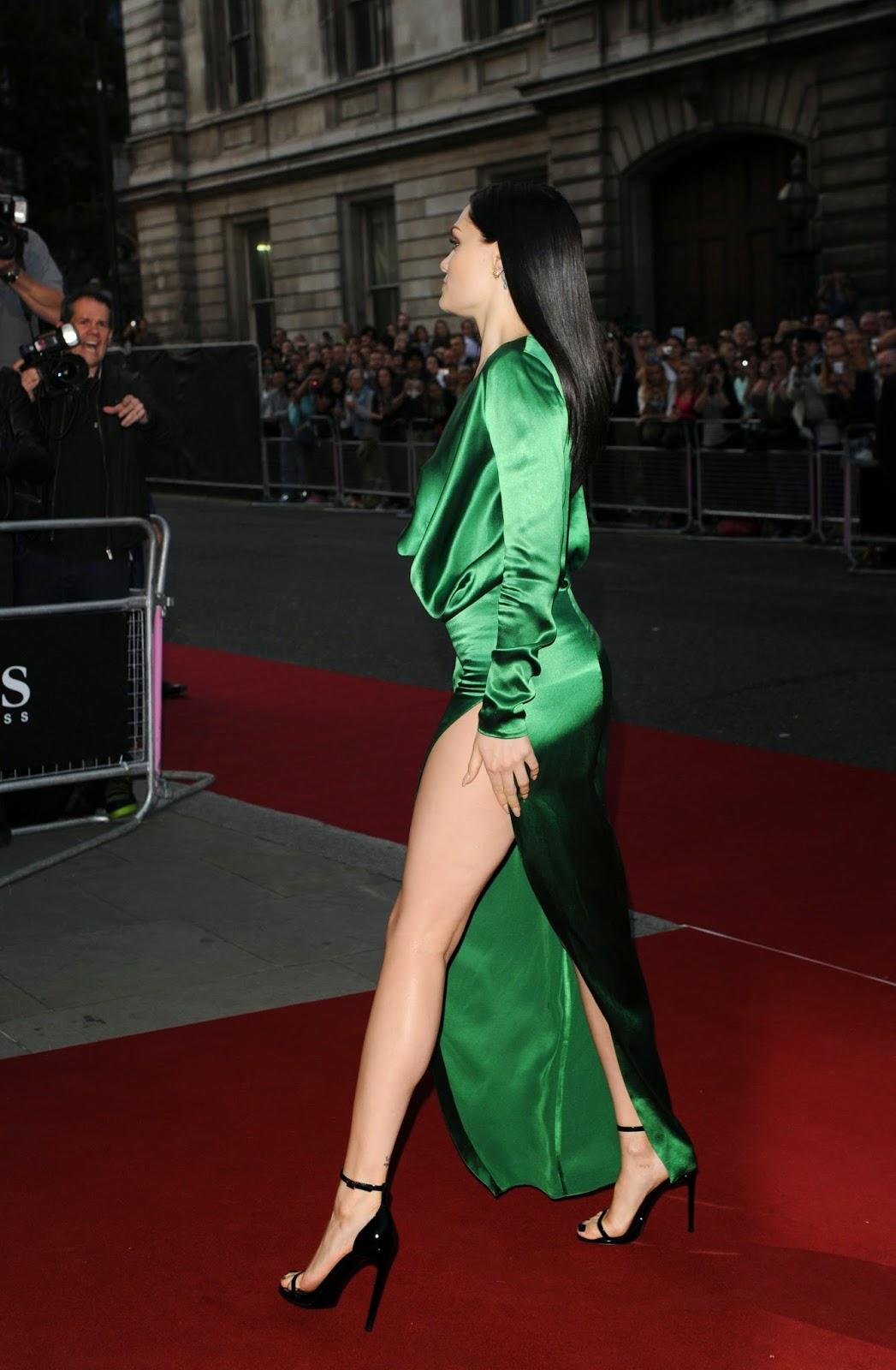 Ladies In Satin Blouses Jessie J Green Satin Dress