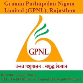 Gramin Pashupalan Nigam Limited, GPNL, Rajasthan, Field Officer, Animal Husbandry Worker, 10th, freejobalert, Sarkari Naukri, Latest Jobs, Hot Jobs, gpnl logo