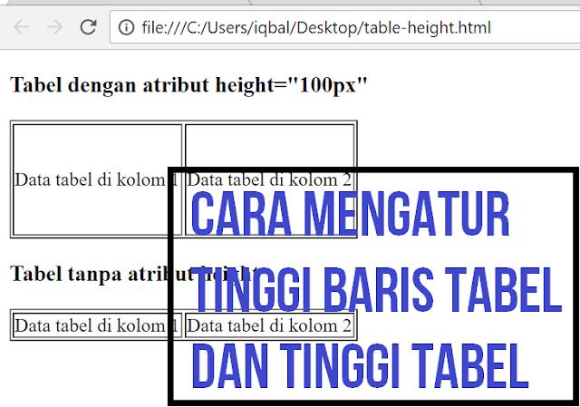 cara mengatur tinggi tabel