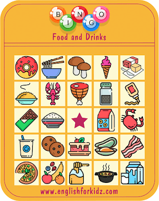 Food bingo game -- printable materials for English learners