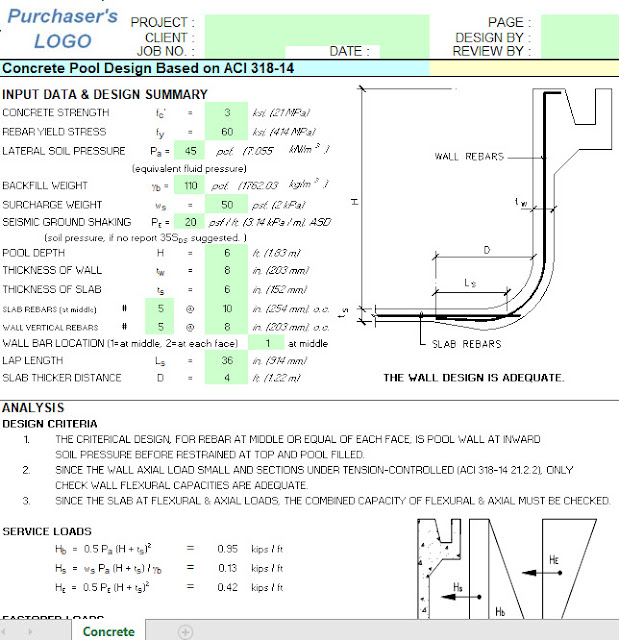 Concrete Pool Design Based on ACI 318-14