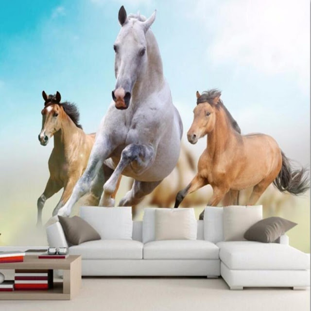 Horse wall murals Wallpaper white horses galloping run photo wallpaper living room bedroom 3d girls room