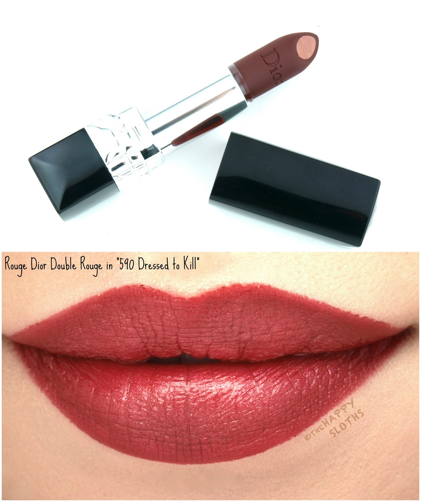 "Dior Rouge Dior Double Rouge Lipstick in ""590 Dressed to Kill"": Review and Swatches"