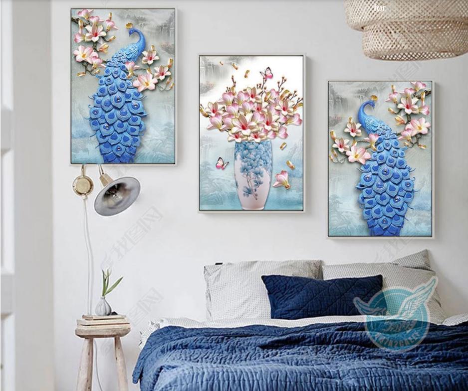 Tranh Bộ 3 chim công xanh cho phòng khách đẹp