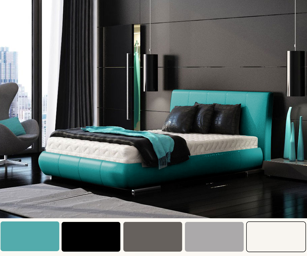 Turquoise And White Pearl Bedroom Design - Native Home ...