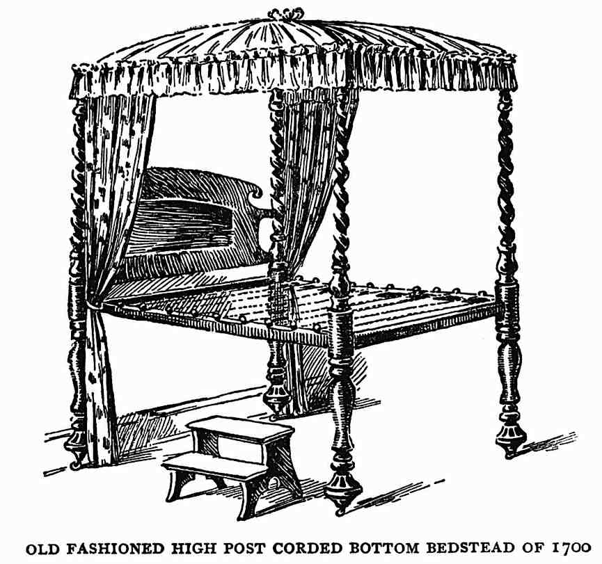 High post corded bottom bedstead 1700, an illustration