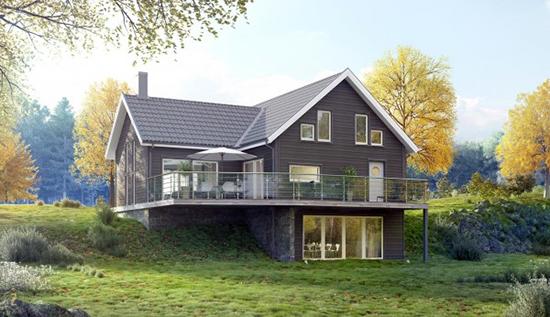 rumah villa bergaya nordic