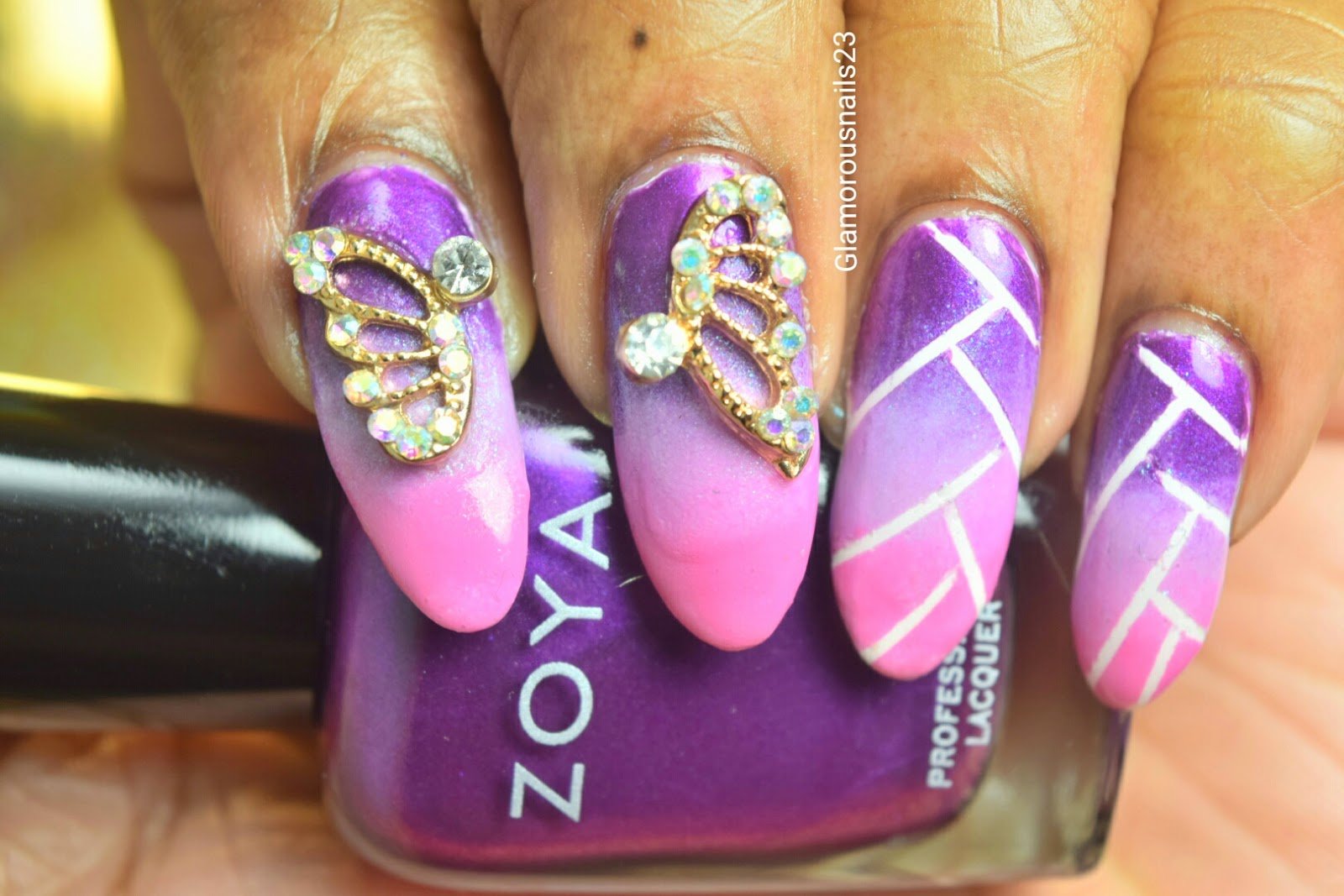 Braided/Weaved Ombre Nail Art