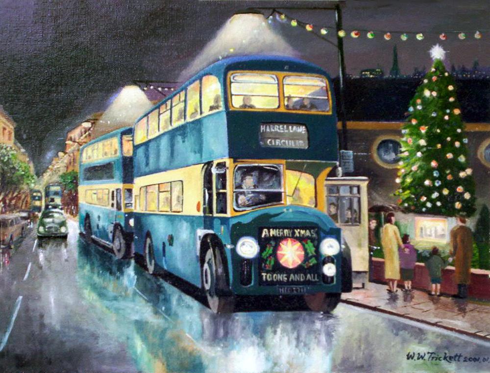 transpress nz: Christmas buses, Barrow in Furness, 1961 art