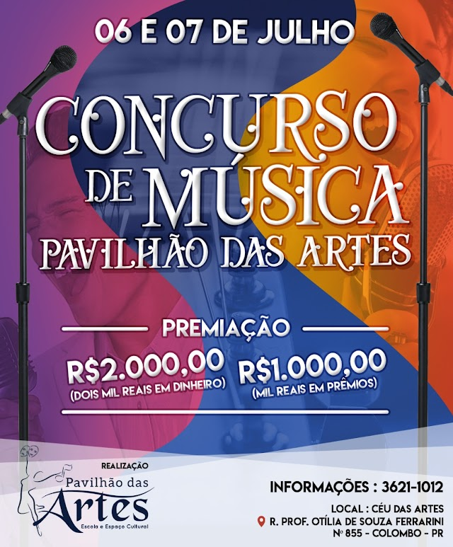 Concurso de música em Colombo irá dar até 3 mil reais em prêmios