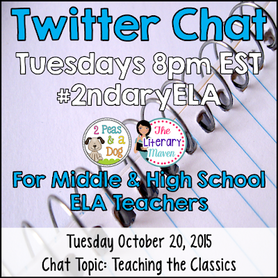 Join secondary English Language Arts teachers Tuesday evenings at 8 pm EST on Twitter. This week's chat will focus on teaching the classics.